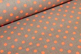 Baumwolle braun mit kleinen orangen Punkten