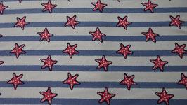 Jersey weiß grundig  , blaue Streifen  + 3,5 cm große Seesterne