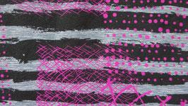 Jersey Unruhe schwarz /weiß Streifen mit pinkem Muster