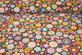 Feinkord Blumen/ Schmetterlinge braun 700575