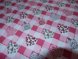 Baumwolle Herzen und Karos rosa 910346