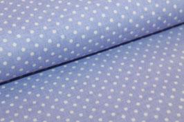 Baumwolle hellblau mit kleinen weißen Punkten