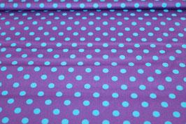 Baumwolle lila mit großen blauen Punkten