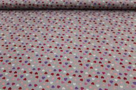 Baumwolle bunte Herzen auf grau 910380/99