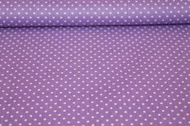 Baumwolle lila mit kleinen weißen Punkten