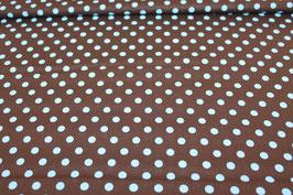 Baumwolle braun mit großen blauen Punkten