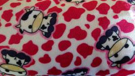 Polarfleece rot - weiß mit Babykuh