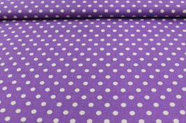 Baumwolle lila mit großen weißen Punkten