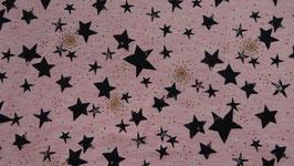Sweat rosa mit verschieden großen - schwarzen  Sternen + Glitzer