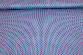 Baumwolle blau mit kleinen roten Punkten