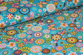 Feinkord Blumen/ Schmetterlinge blau 700533