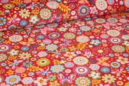 Feinkord Blumen/ Schmetterlinge rot 700533
