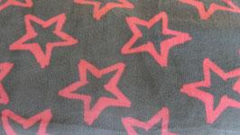 Fleece grau mit pinken  Sternen