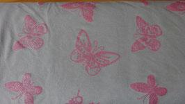 Sweat  grau mit pinke Glitzer - Schmetterlinge