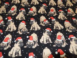 Sweat Digitaldruck Mops mit Weihnachtsmütze ( Frensh Terry )
