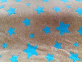 Fleece braun mit türkisen Sternen 302371/59