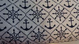 durchgewebter Dekostoff blau  +  weiß  1,40 m breit
