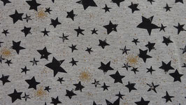Sweat grau  mit verschieden - großen schwarzen  Sternen + Glitzer