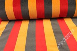 Polsterstoff schwarz/rot/gelb gestreift 101290/32/24
