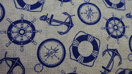 Dekostoff crenegrundig = Kompass + Anker  blau