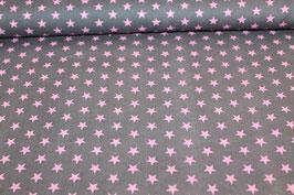 Baumwolle grau kleine rosa Sterne