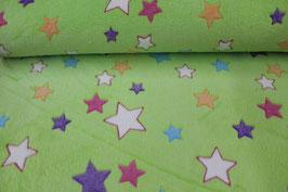 Fleece grün mit bunten Sternen 301764/99