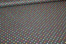 Baumwolle schwarz mit kleinen bunten Punkten