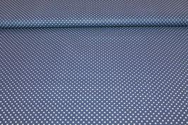 Baumwolle dunkelblau mit kleinen weißen Punkten