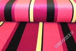Polsterstoff pink/gelb/schwarz gestreift 101243/23/90