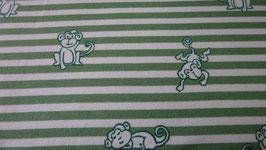 Jersey  weiß / grün gestreift mit  Affen ( Äffchen)