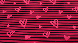Jersey pink/ schwarz gestreift mit rosa Schaumherzen