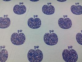Jersey hellblau mit dkl.blauen Glitteräpfeln