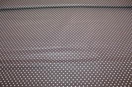 Baumwolle dunkelbraun mit kleinen weißen Punkten