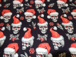 Sweat Digitaldruck Totenkopf mit Weihnachtsmütze ( Frensh Terry )