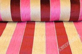 Polsterstoff beige/rosa/rot gestreift 101214/45/33