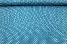 Baumwolle blau mit kleinen weißen Punkten