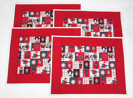 Platzdeckchen mit Weihnachtseulen 4er Set, rot