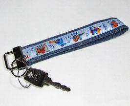 Schlüsselband Jeans mit Musik Eulen