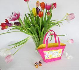 Osterkorb pink mit Blüten