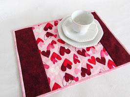 Platzdeckchen Valentin mit Herzen 4er Set