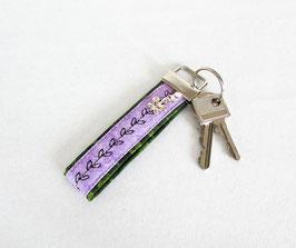 Schlüsselband grün lila mit Stickerei