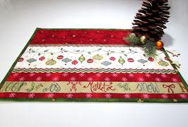 Platzdeckchen, Platzmatten in rot mit Weihnachtsgirlande, 2er Set