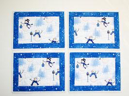 Platzdeckchen Schneemänner 4er Set weiß blau