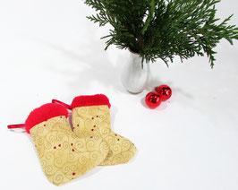 Mini Nikolausstiefel beige rot 2er Set