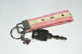 Schlüsselband rosa beige mit bunten Nieten