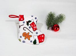 Mini Nikolausstiefel weiß mit Lebkuchenmann, 2er Set