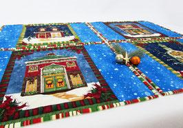 Platzdeckchen Weihnachten  4erSet, Häuser blau