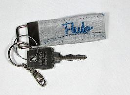 Schlüsselband Jeans hellgrau mit Auto Stick