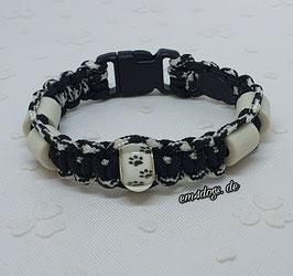 em4dogs EM-Keramik-Armband - Pfote schwarz-weiss