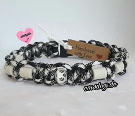 em4dogs EM-Keramik-Hundehalsband - schwarz-weiß